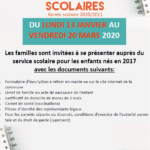 Inscription scolaire 2020 – 2021